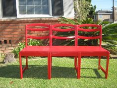 Garden benches from old chairs!  Fun!    Upcycled chair bench by youvebeenbenched on Etsy,