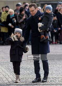 Prince Daniel, Duke of Vastergotland with Princess Estelle of Sweden and Prince Oscar of Sweden during celebrations for Crown Princess Victoria of Sweden name day at The Royal Palace on March 12, 2017 in Stockholm, Sweden.  (Photo by Mark Cuthbert/UK Press via Getty Images)