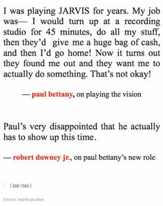Paul Bettany on the Vision- I love!!