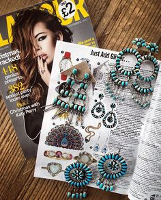 WEBSTA @ child_of_wild - ✣ G L A M O U R uk ✣ excited to have our Native American Turquoise earrings showcased in @glamourmag @glamouruk again !!! www.childofwild.com ✣ #childofwild #glamour