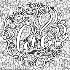 Valentines Lettering Love Lettering Coloring Pages Adult