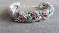 #Bracelet tressé chaîne coton vert bleu rose de OneByOne sur DaWanda.com
