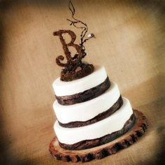 Rustic Wooden Monogram Cake topper woodsy, woodland, rustic mossy theme   roxyheartvintage - Wedding on ArtFire