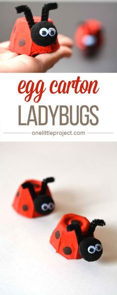 These egg carton ladybugs are such a fun and easy craft for kids! And they'… These egg carton ladybugs are such a fun and easy craft for kids! Easy Crafts For Kids, Craft Activities For Kids, Easy Diy Crafts, Cute Crafts, Toddler Crafts, Projects For Kids, Diy For Kids, Craft Projects, Craft Ideas