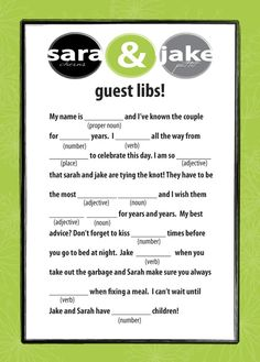 guest libs I just think this is a cute and gofy idea. Have a friend collect at the end of the day and put in a book. Who doesn't like going back and reading libs and it gives people something to ddo when the toast is just going on way too long.when the
