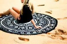 Bohemian round beach towel with black fringe for the Queen of the Beach. Super soft luxury round beach towel made for two people.