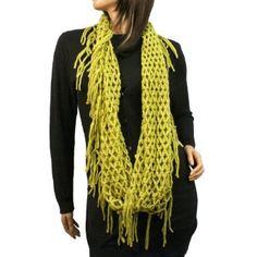 Winter Knit Fishnet Net Fringe Loop Circle Eternity Infinity Scarf Chain Mustard SK Hat shop. $16.95