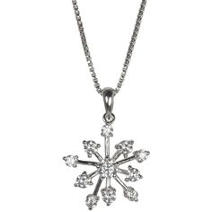 Jools by Jenny Brown Cubic Zirconia Snowflake Pendant Necklace, Silver ($90) ❤ liked on Polyvore featuring jewelry, necklaces, accessories, snowflake necklaces, silver necklace pendant, cz pendant necklace, adjustable chain necklace and silver pendant necklace