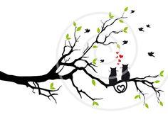 Faire-part de mariage les chats dans l'arbre de par Illustree