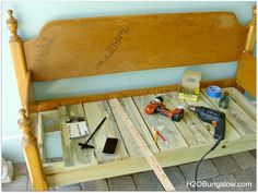 Simple DIY Headboard Bench Tutorial - I Only Made 4 Cuts on Wood!