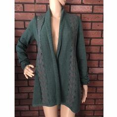 "Anthro Knitted & Knotted lace inset cardigan S Adorable cardigan in excellent pre-loved condition. Approx 17"" bust, 29"" in length. Mannequin is 5'7"" for reference. 80% wool, 20% poly. ✅offers❌trades/PP bundles save 20% off 2+ Anthropologie Sweaters Cardigans"