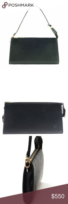 Auth  Louis Vuitton Epi Leather Shoulder Bag Black This exquisite bag is crafted of Louis Vuitton signature textured Epi leather, LV  monogram embossed  w/ gold brass hardware. Its sleek shape and beautiful textured leather makes it a timeless classic. The versatile strap that allows you wear it on the shoulder, as a wrist-let or carry it clutch-style. The top zipper opens to a spacious microfiber interior. It is clean in outstanding condition and it comes as complete set with the original…