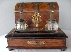 Antique Writing Desk Stand Stationary Box Ink Well Coromandel Wood Brass English