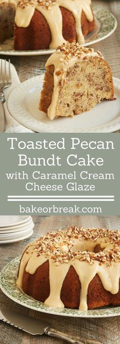 Toasty nuts, lots of brown sugar, and a sweet glaze combine to make this fantastic Toasted Pecan Bundt Cake. A must for pecan lovers! - Bake or Break (Bundt Cake Recipes) Bunt Cakes, Cupcake Cakes, Cupcakes, Just Desserts, Delicious Desserts, Dessert Recipes, Cream Cheese Glaze, Cream Cheese Pound Cake, Cream Cheese Frosting