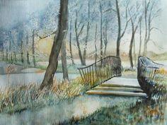 Aquarelle von Frank Koebsch während der regio:polis | Brücke im winterlichen Park (c) Aquarell von Frank Koebsch