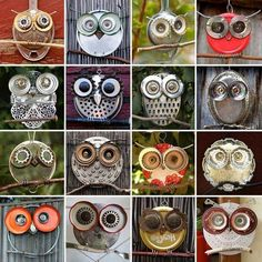 unique crafts to make ~ unique crafts . unique crafts to sell . unique crafts for kids . unique crafts to make . unique crafts to sell handmade . unique crafts to make and sell . unique crafts to sell diy projects . unique crafts to sell creative Owl Crafts, Diy And Crafts, Arts And Crafts, Upcycled Crafts, Repurposed Items, Metal Crafts, Kids Crafts, Garden Owl, Garden Crafts