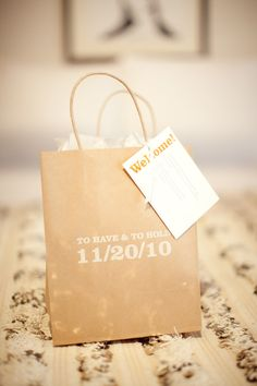 Cute welcome bags, and go here for what you should put in them!