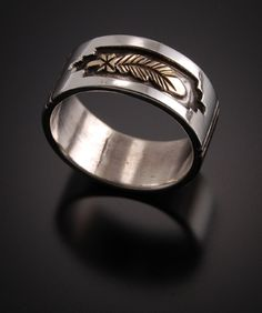 Gold And Sterling Silver Eagle Feather Wedding Rings Priced For Pair Bryn Unique With Meaning
