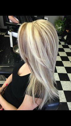Chunky dimensional cool blonde highlights