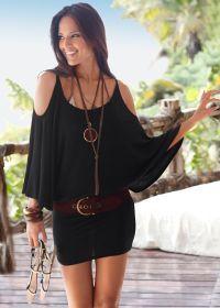 COLD SHOULDER DRESS, black, $44