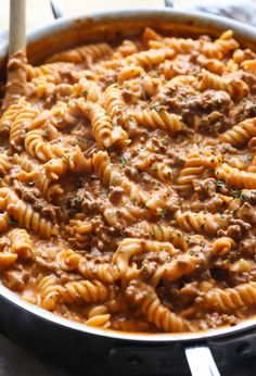 Creamy Beef Pasta Recipe is an easy pasta dish that is perfect for weeknight dinners. It's made in 30 minutes or less and is cheesy, and packed with flavor! Like homemade hamburger helper...but better! #cookiesandcups #pastarecipe #dinner #easydinner #recipe #30minutedinner #pastarecipes #beefpasta