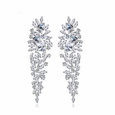 GULICX Shinning Cubic Zironia Art Deco Leaves Drop Chandelier Dangle Wedding Earrings for Brides Silver Plated