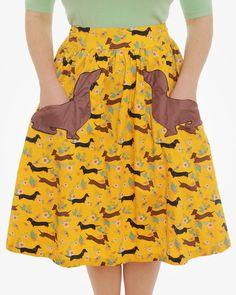 Daniella dachshund print swing skirt is here! Dachshund Funny, Dachshund Gifts, Dachshund Love, Vintage Dachshund, Weenie Dogs, Doggies, Daschund, Piebald Dachshund, Vintage Inspired Fashion