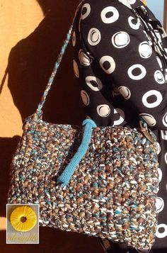 Crochet bag Brown and turquoise by Ideeinfilo on Etsy Borsa uncinetto