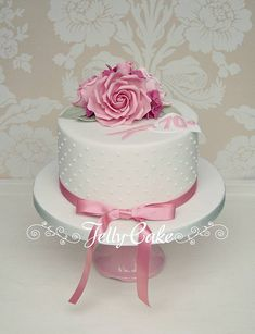 Rose Birthday Cake A pretty pink cake with piped pearls around the sides for a special 70 Birthday Cake For Mum, Pretty Birthday Cakes, Birthday Cake With Flowers, Birthday Cakes For Women, Birthday Cupcakes, Valentines Flowers, Rustic Cake, Celebration Cakes, Cake Designs