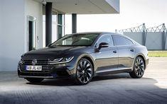Download wallpapers Volkswagen Arteon R-Line, 2018, 4k, black sports sedan, tuning, black Arteon, new cars, Volkswagen