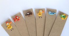 Quilled Bookmarks Set of 4, Animals, Fish, Whale, Chick, Hedgehog, Woodland,Paper, Cardboard, Free Post Worldwide