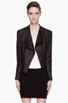 HELMUT Black Washed Leather cropped Jacket