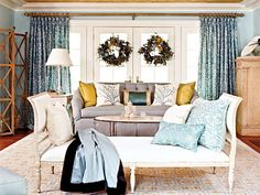 Gold and blue throw pillows