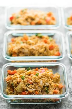 Prep a big batch of this meal prep vegetarian fried rice and stash some in the freezer! Perfect for those days when you don't have lunch planned.