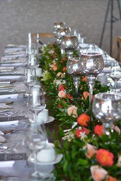#receptionflowers#weddinglfowers#tablelayout#garland#floralgarland#bradfordgreenhouses