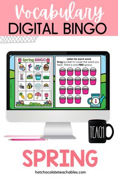 This Spring / Easter themed digital BINGO game is a great way to build vocabulary and practice active listening skills. Using the Interactive Google Slides™, your students will drag and drop tokens to cover the Spring images that you call out. English Vocabulary Games, Vocabulary Building, Listening Skills, Active Listening, Classroom Language, Spring Theme, Bingo Games, Spring Activities, Educational Games