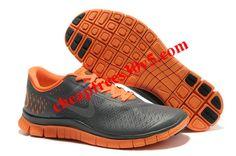Mens Nike Free 4.0 V2 Dark Grey Reflect Silver Total Orange Shoes