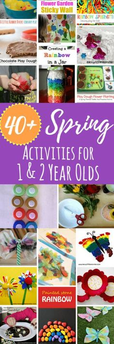 A large list of Spring activities for 1 year olds and toddlers. Including sensory activities, arts and crafts, and fine and gross motor fun. #kidsactivities #spring #toddlerplay #sensoryplay #activitiesfor1yearolds #artsandcrafts