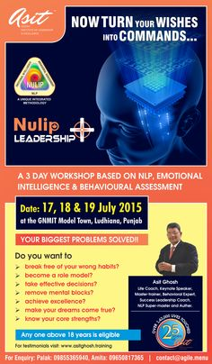 NULIP LEADERSHIP +3 Days NLP based  Power Workshop on 17,18 & 19 July at GNMIT Model Town, Ludhiana, Punjab . by Legendary Trainer ,Coach & NLP Super-Master  Asit Ghosh.