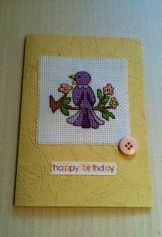 Cross Stitch Bird & Flowers Birthday Card