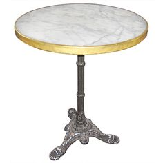 Marble Top French Bistro Table | From a unique collection of antique and modern side tables at https://www.1stdibs.com/furniture/tables/side-tables/