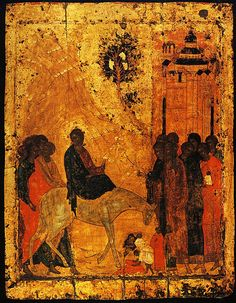 Lord's entry into Jerusalem, 1405 by Andrei Rublev. Cathedral of the Annunciation (Moscow Kremlin), Moscow, Russia Russian Icons, Russian Art, Religious Icons, Religious Art, Andrei Rublev, Baptism Of Christ, 12 Tribes Of Israel, Tribe Of Judah, Byzantine Art