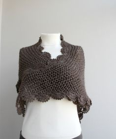 Free Shipping Handmade Chocolate Brown Triangle  Midi Shawl scarf collar Capelet Cowl Christmas gift