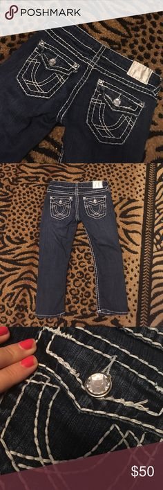 La idol USA jean capris la idol USA denim dark jean capris with gems and white threading. Super cute! Gently used. Good condition! Resemble True religion jeans la idol Jeans Ankle & Cropped