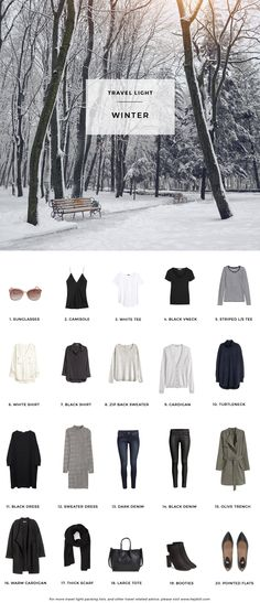 Winter packing list on a budget more travel wear, travel capsule, winter travel packing Winter Travel Outfit, Winter Packing, Winter Outfits, Winter Clothes, Travel Outfits, Paris Packing, Travel Wear, Winter Coats, Summer Travel