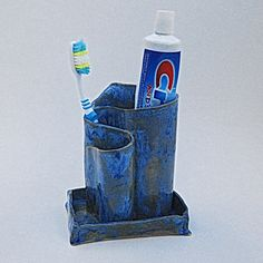 Toothbrush Holder Colbalt Blue Pottery and by TheButlersCreations