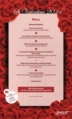 Spasso Valentine's Day Menu | Reserve a table at http://chope.com.hk/categories/restaurant/spasso