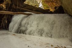 Small frozen falls at Parfrey's Glen State Natural Area near Baraboo. Details: http://www.devilslakewisconsin.com/parfreys-glen/