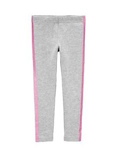 Accented with glitter stripe on the sides, these stretchy leggings by Carter's® have covered elastic waistband for a comfy fit. Toddler Leggings, Girls In Leggings, Toddler Girl Outfits, Kids Outfits, Glitter Leggings, Baby Girl Pants, Colorful Leggings, Clothes, French Terry