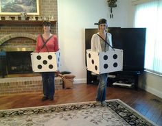 """Pair-A-Dice"". Bunco dice Halloween Costume! Made from card board, black paper & ribbon. Cheap & fun costume to make!"